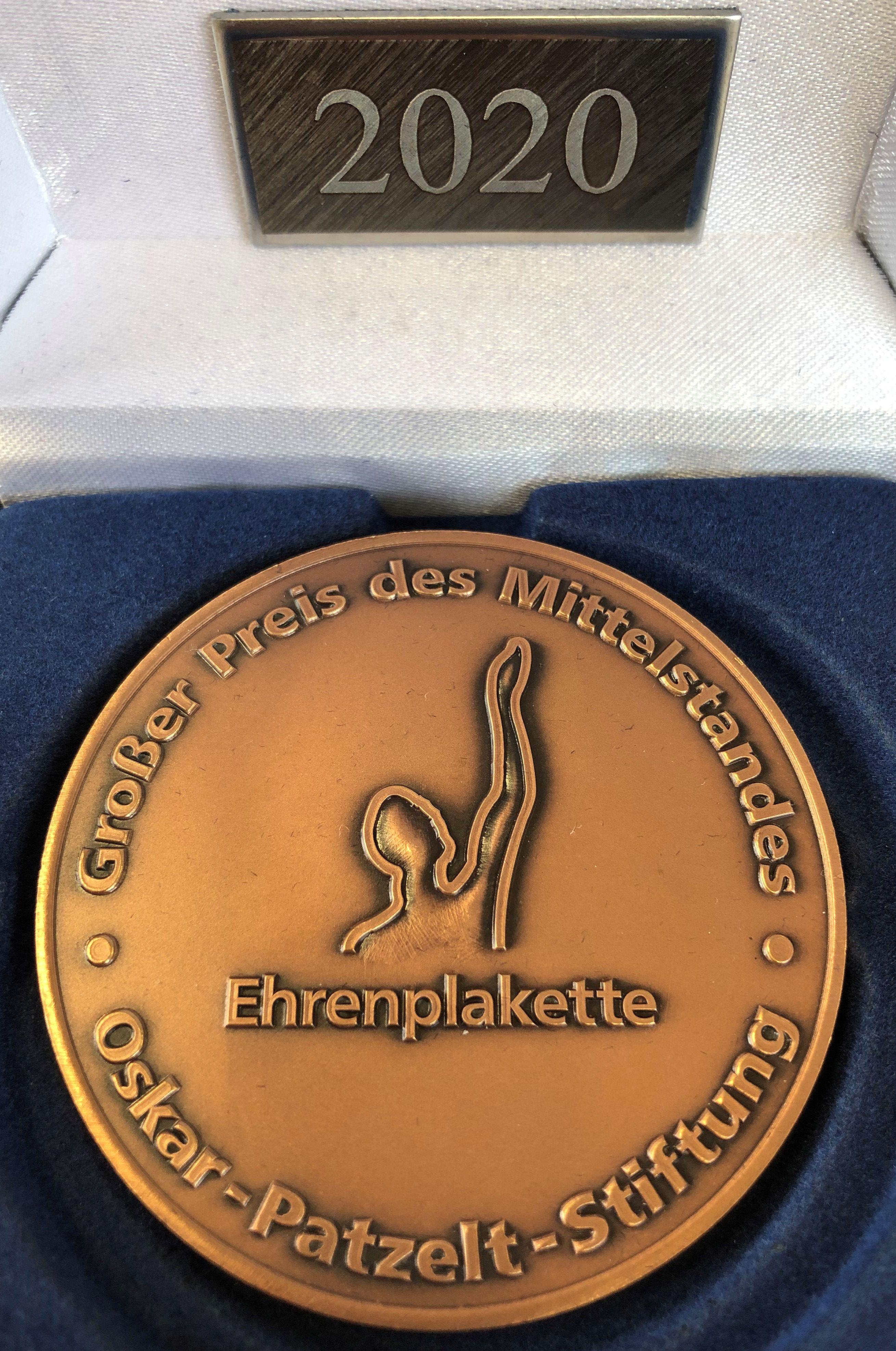 """Premosys Ehrenplakette des """"Großen Preis des Mittelstandes"""""""